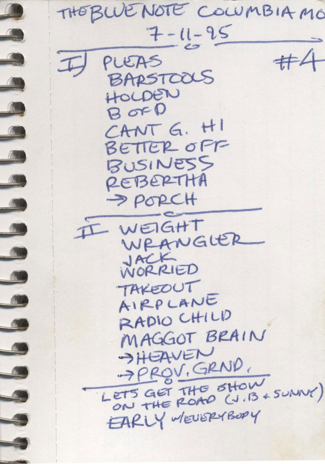 Columbia 1995 Garrie Setlist