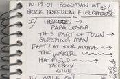 Bozeman 2001 Setlist